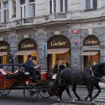 Luxury shopping on Pařížská street in Prague