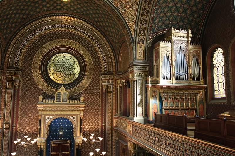 Inside of a synagogue in the jewish quarter of Prague
